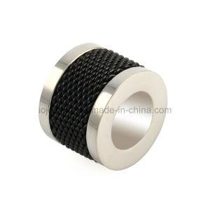 Diferentes Color negro de cuero pulsera de acero inoxidable chapado en cordón de los hombres