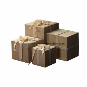 Custom-Made Boîte en bois avec des rubans Boîte de rangement en bois 17x17x20cm/16.5x16.5x13.5cm/11x11x11cm