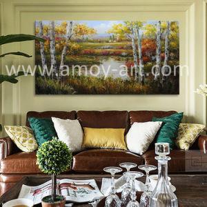 ホーム装飾のためのハンドメイドのシラカバの林業のキャンバスの壁の芸術の絵画