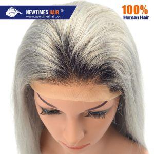 100 % de cheveux humains Fashion Lady Deux tonalités de gris Lace Front Wig