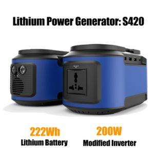 Mini portátil generador de energía Solar Kit con 200W inversor AC DC SALIDAS USB