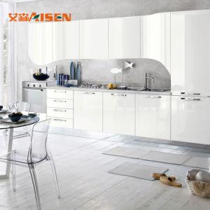 Armadio da cucina moderno di alto di lucentezza disegno poco costoso modulare pronto bianco del legno cinese