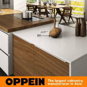 Houten Keukenkasten van pvc van het Ontwerp van het alle-Eiland van Oppein de Moderne (OP16-PVC02)