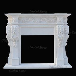Manto de piedra blanca rodean chimenea de mármol tallado con flores (GSMF-100)