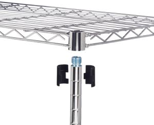 El ahorro de espacio Chrome ajustable cable resistente bastidor de estanterías de cocina