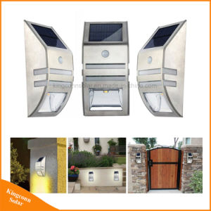 屋外の銀製の黒PIRセンサーの太陽壁ランプの太陽パスLEDライト
