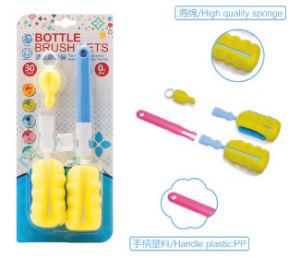 Spazzola di plastica di lavaggio delle bottiglie della spugna della maniglia lunga per la cucina