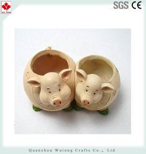 かわいい樹脂の牧歌的なブタ様式のプラント植木鉢