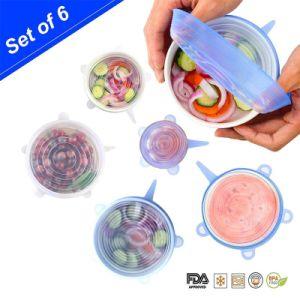 Les couvercles d'Étirement de silicone Pack de 6 couvercles alimentaires réutilisables en silicone