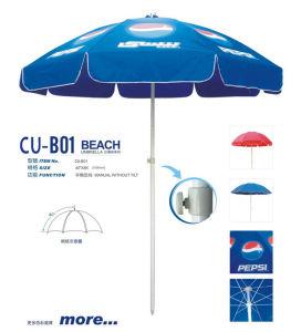 金属ShaftおよびSingle Round Ribs、Logo Printing反Rust、Manual Fishing Beach Umbrellaオックスフォード紫外線Protecting FabricのDesign
