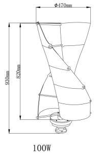 자유 에너지 100W 12V/24V 잡종 태양풍 발전기