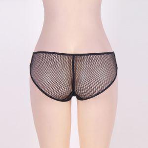 Venta caliente Fishnet Sexy Bragas con encajes en la entrepierna ver a través de Plus Size ropa interior mujer ropa interior erótica Bowknot