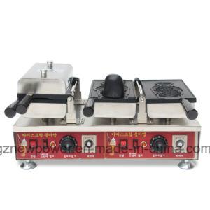 アイスクリームのTaiyaki機械魚のベーキングワッフルメーカー(2 PCS)