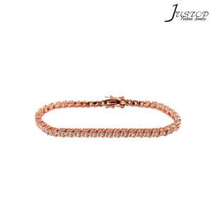 Roze nam de Armband van de Kleur van het Gouden Plateren met de Steen van CZ toe