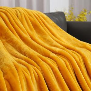 China de fábrica al por mayor de alto peso Super Soft de microfibra Color sólido de lujo Viajes de visón grueso Coral franela bebé Dormitorio Wa Thorw Manta de lana 100% poliéster