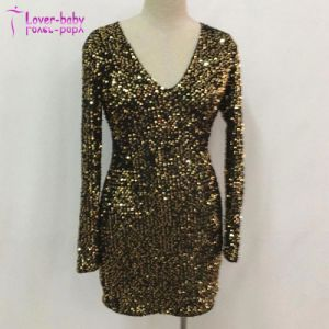 La nueva moda de damas de lentejuelas de oro elegante Vestido de manga larga