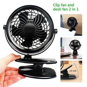 Clip sur le bureau du ventilateur fonctionnant sur batterie ou USB 4 piles AA requises un paramètre Mini Ventilateur de table pour bébé poussette dortoir de bureau à domicile et à l'aide extérieure