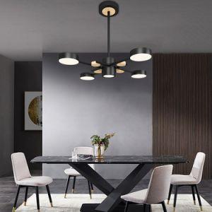 A tampa preta do Projector Solar sala de estar a poupança de energia cores modernas lustre de vidro Tiffany Teto Ferro Fundido pingente de cristal LED Lâmpada de Luz