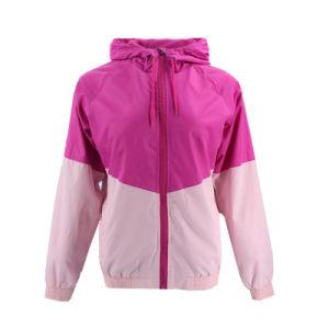 Moda Última Design Exterior Windbreaker tecidos personalizados Softshell de poliéster de desportos de Inverno de capuz Rosa Qualidade de fábrica mulheres Bomber casaco