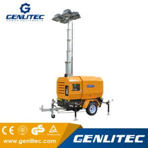 Mobile torre de luz para la noche funciona montado en el trailer de la luz de la torre