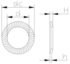 Ressort de sécurité DIN9250 la rondelle de blocage