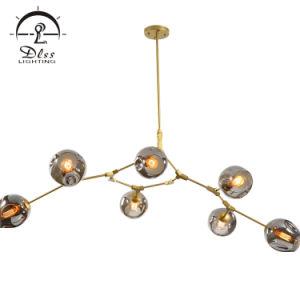 現代明確なガラス玉の鉄の装飾のレストランのシャンデリアの照明