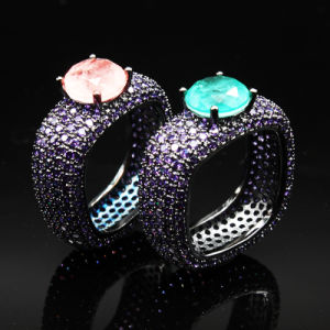 Anel de Diamantes Deluxe moda jóias de metal preta Electroplated Icestone Anel Anel de vidro