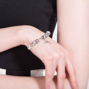 925 de echte Armband van het Staal met een Glas van de Ketting van Pool van het Bijvoegsel van de Ring parelt Mooie Juwelen