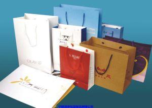 Белый крафт-бумаги торгового мешки с ручками