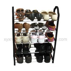 5 Reihen Steel Pipe und pp. Frame Metal Shoe Rack