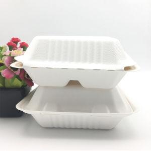 Compostableバガスのパルプのサトウキビのクラムシェルの生物分解性の食糧ボックス