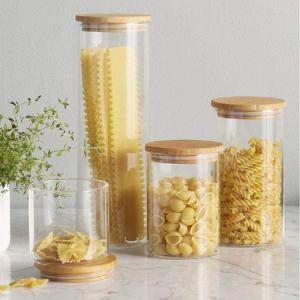 Cuisine de haut en verre borosilicaté Canister avec couvercle hermétique de bambou, DE VERRE Pot de rangement pour la cuisine, salle de bains