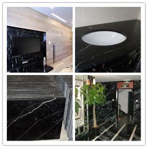 De opgepoetste Zwart-witte Marmeren Tegels van de Vloer (yqg-MT1011)