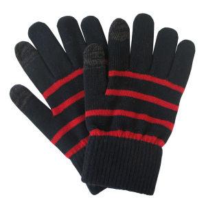 人の方法縞によって編まれる冬の暖かいタッチ画面の手袋(YKY5463)