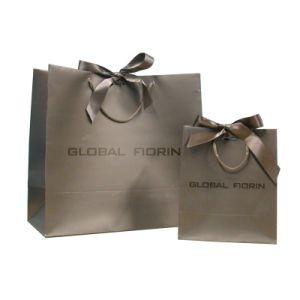 Plegado de papel color compras la bolsa de logotipo personalizado
