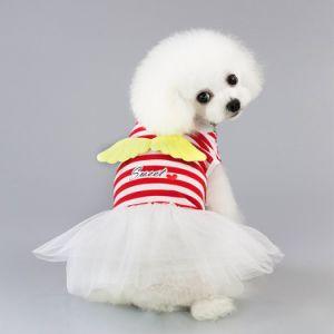 Fornecer Pauppy Angel Faixa Vermelha Dress Dog T-shirt roupas Pet Produtos de Vestuário