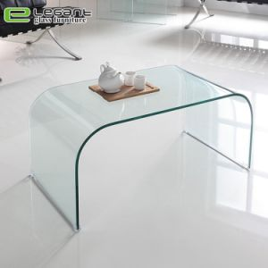 Coin arrondi refoulées Table basse en verre avec le bord biseauté
