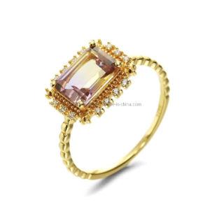 925 de zilveren Juwelen van de Manier van CZ van de Steen van Ametrine van de Ring Eenvoudige Zilveren