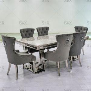 Mobiliário doméstico europeu mesa de jantar em aço inoxidável e cadeira definido