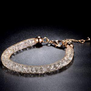 Armband van het Kristal van het Netwerk van het Roestvrij staal van de Juwelen van de manier de Goud Geplateerde