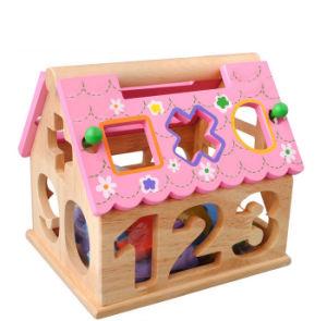 Colorida 0-9 geometría digital Cuadro forma bebé caja de juguetes de madera de Dollhouse intelectual