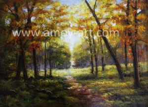 Pittura a olio Handmade di paesaggio della foresta di autunno di alta qualità su tela di canapa