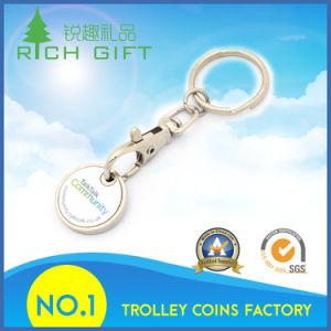 Dez anos de experiência em fabricação Loja característica esmalte Metal Barato Carrinho de Compras de supermercado Coin Chaveiro Moeda Key Ring e preço de fábrica