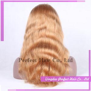 100% de cabelo humano pleno Lace Front loira peruca