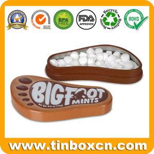 0.5Oz/15g en relieve la forma de pie chicles menta tin box para regalos