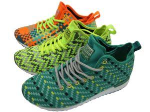 Nueva moda de tejido de zapatillas de baloncesto superior de la ejecución de calzado deportivo