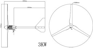 3000W de Turbogenerator van de wind die voor het Type van G van het Huis wordt gebruikt