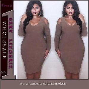 Comercio al por mayor tamaño de la más sexy del hombro vestidos de niñas en frío (TLL2505)