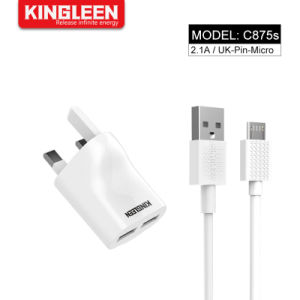 2.1A с двумя портами USB-UK контакт Home универсальный адаптер питания настенное зарядное устройство с 3 фт кабель micro-USB для Samsung Huawei LG