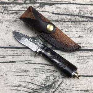 Faca de caça de Aço de damasco com alça de ébano Faca reta